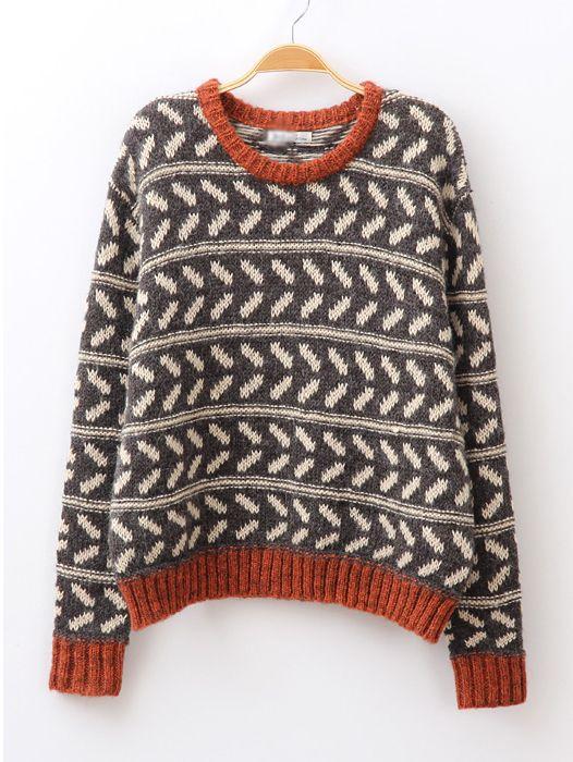 Coffee Batwing Sleeve Geometric Pattern Sweater - Sheinside.com