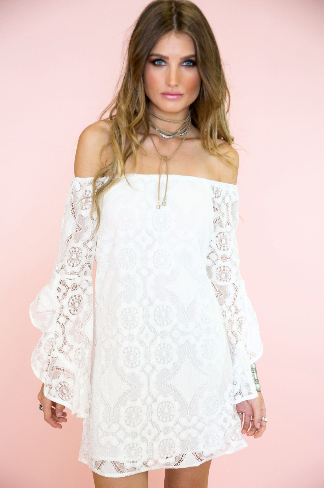 Roxy Lace Off Shoulder Bell Sleeve Dress - White | Roxy, Sleeved ...