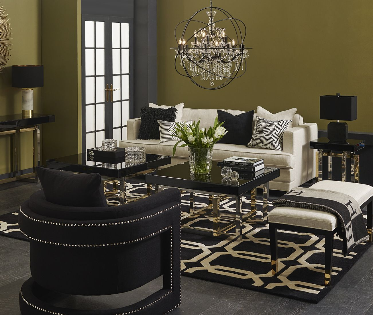 shop the look  cafe inspired living room  black and gold