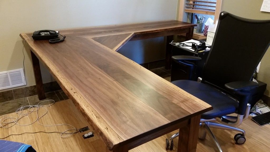 Liveedge Black Walnut L Shape Desk Diy Office Desk Diy Desk