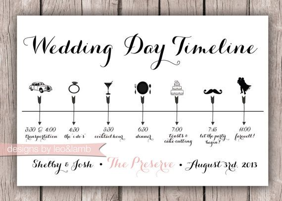 Custom Wedding Timeline - 5x7 - Digital File | Wed | Pinterest ...
