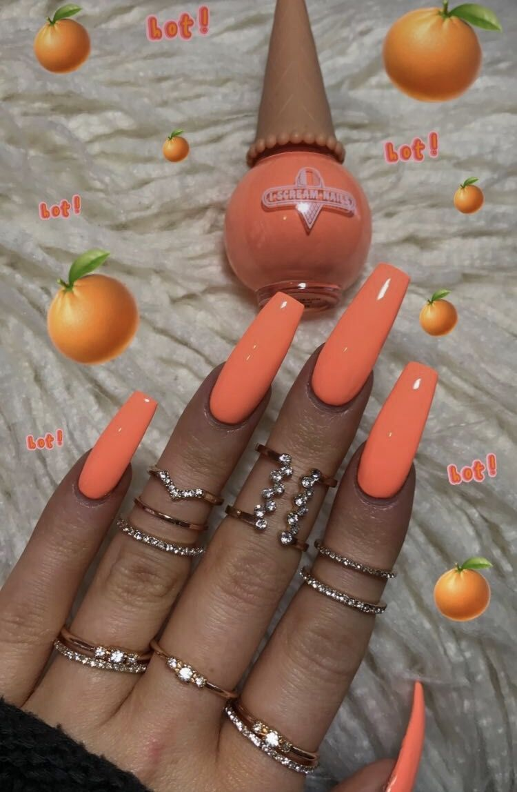 pinterest: @ nandeezy † | Orange nails, Long acrylic nails ...