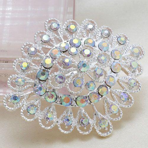 Fashion Rhinestone Silver Oval Flower Women Wedding Brooch Pins