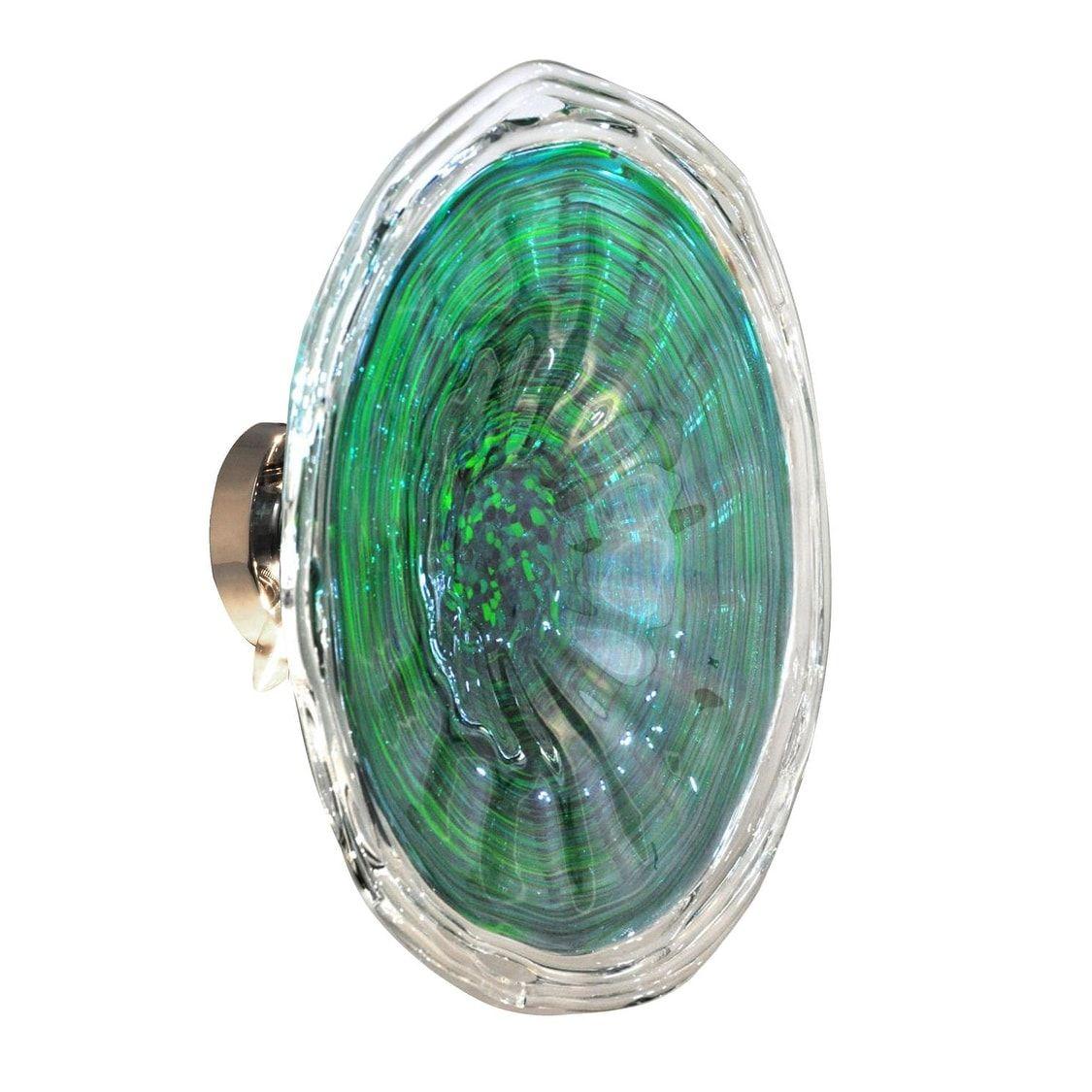 20 Aquamarine Blue and Green Swirled Hand Crafted Glass Flush Mount ...