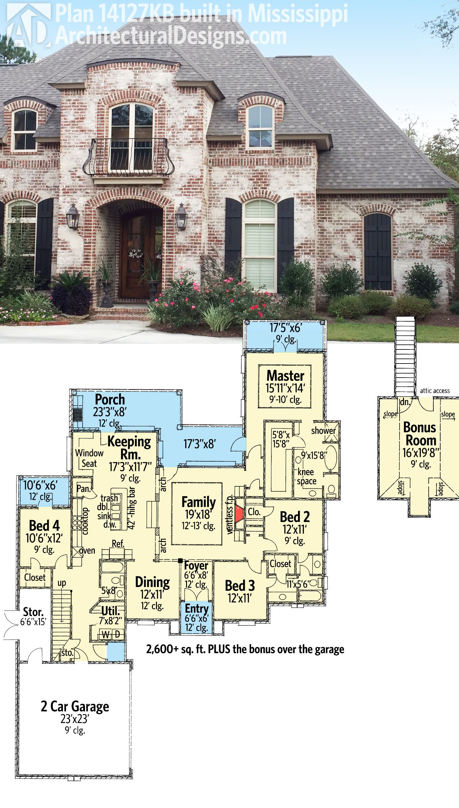 Plan 14127KB: Graceful and Elegant 4 Bed Acadian House Plan ...