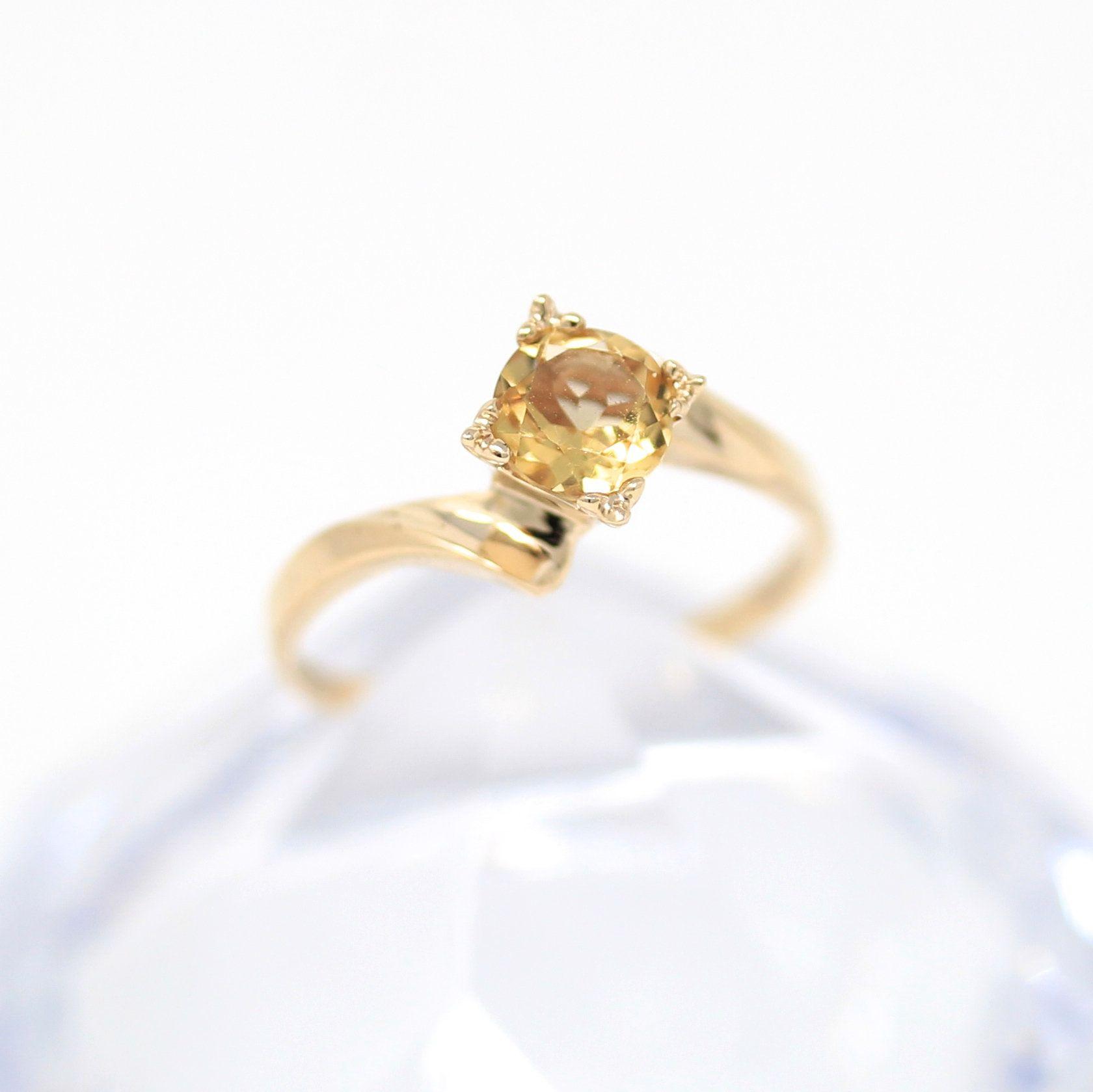 Vintage Citrine Ring 10k Yellow Gold Bypass Ring Size 6 1 2 Retro 1960s Yellow 62 Ct November Birthstone Fine Retro Jewelry Genuine Citrine Modern Jewelry
