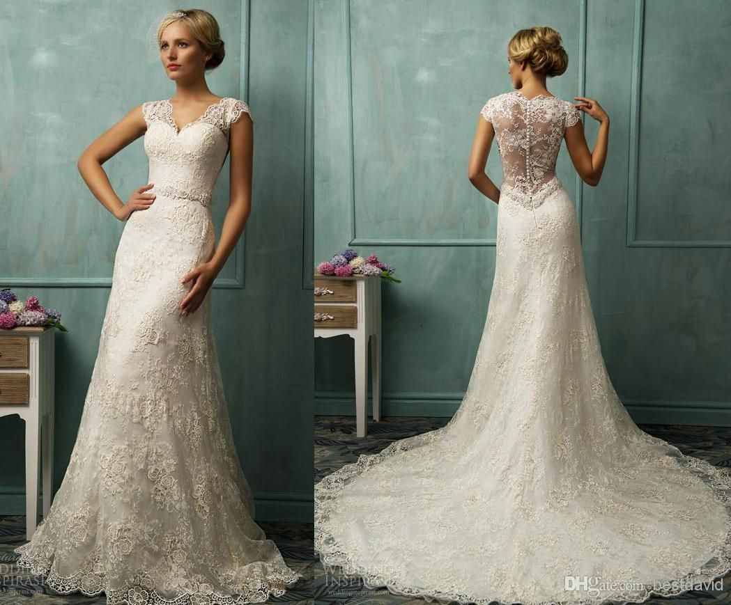 Sheer Straps Lace Cap Sleeve Wedding Dresses Illusion Back