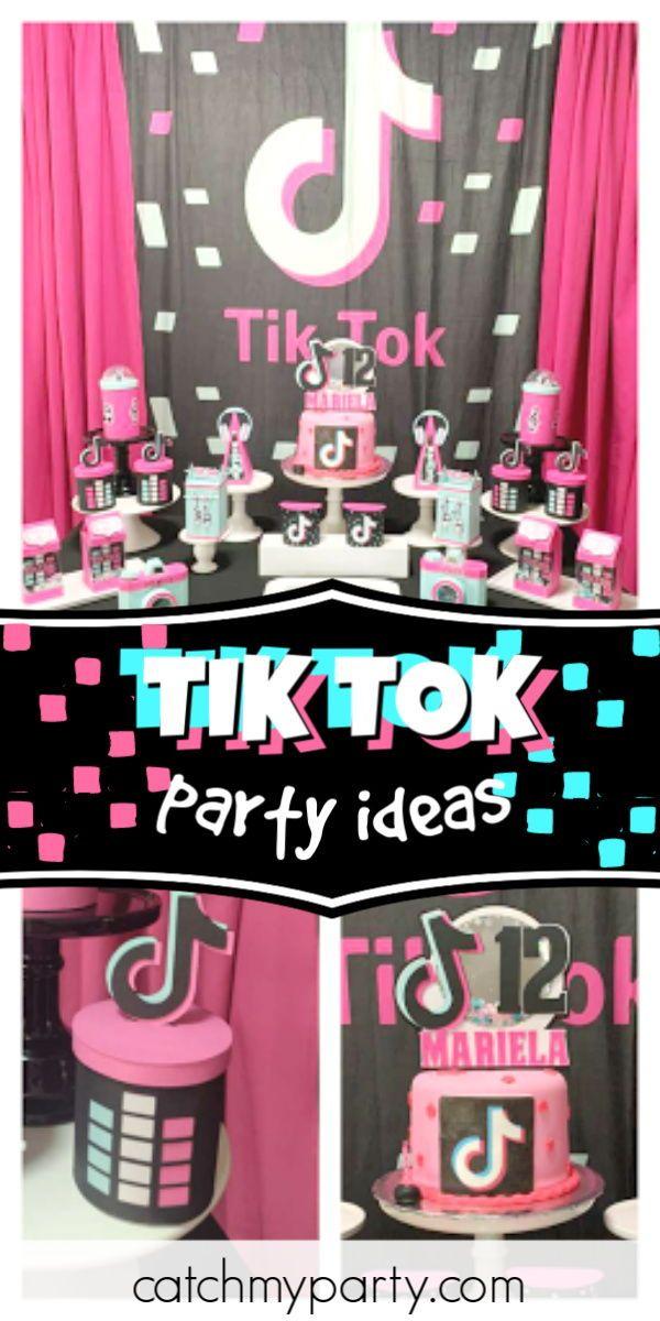 Tik Tok Birthday Mariela S 12 Tik Tok Party Catch My Party 12th Birthday Party Ideas Girls Birthday Party Games Chic Birthday Party
