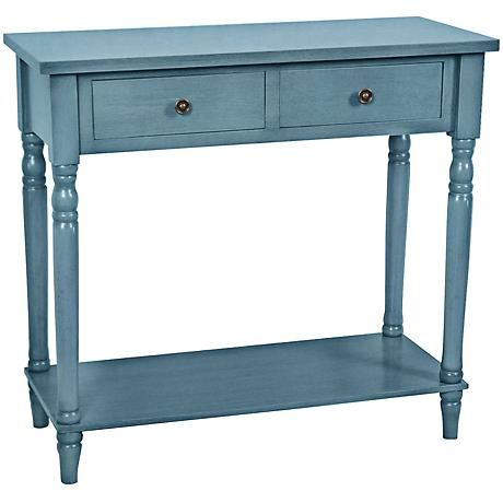 Crestview Vivid Blue 2 Drawer Wood Console Table 7w210 Wood Console Table Wood Console Sofa Table Design
