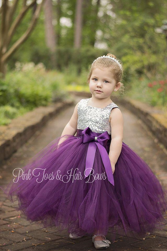1a425c95af5 Flower girl dress-birthday dress-plum flower girl dress-silver ...
