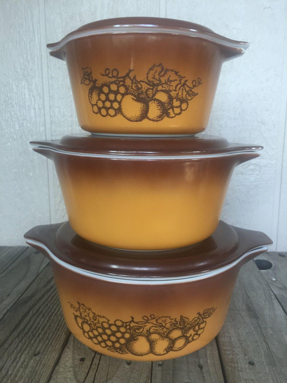 Vintage Pyrex 6 Piece Casserole Set-Old Orchard Pattern by ...