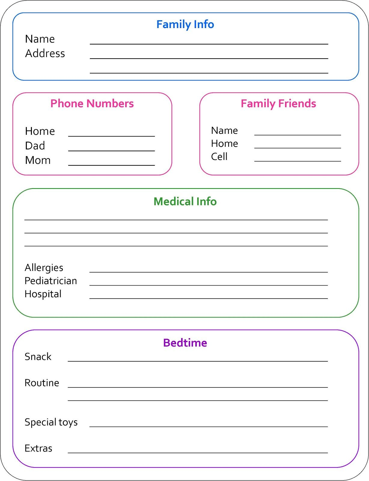 Random Bits: Babysitter Info Sheet {organization}  Another Word For Babysitter