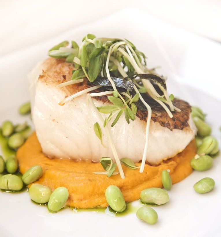 Asian Style Sea Bass With A Carrot Ginger Puree And Edamame