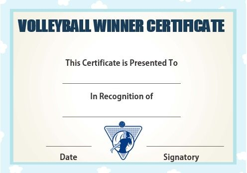 Volleyball winner certificate volleyball certificates free volleyball winner certificate award certificatescertificate templatesvolleyball gamestemplates freefree yadclub Gallery