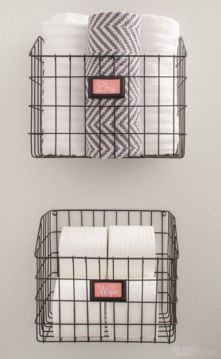 Mount Baskets On The Wall To Add Bathroom Storage Without Paying For A Pricey Cabinet Bathroom Wall Storage Diy Bathroom Storage Small Bathroom Storage