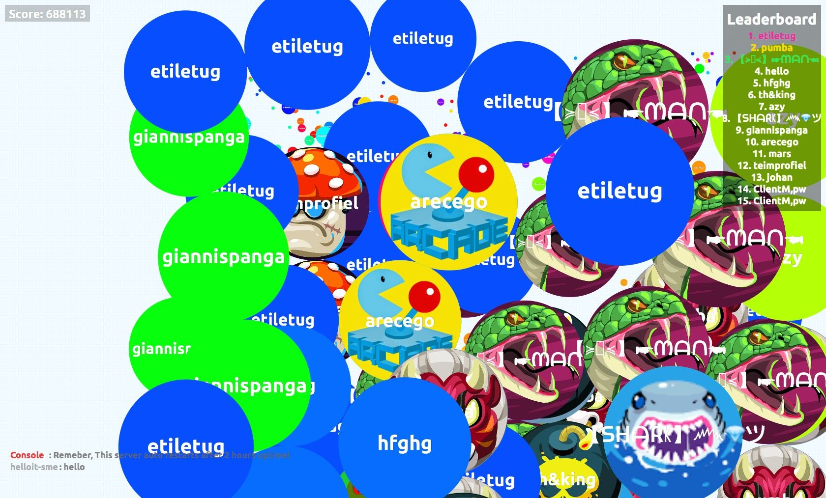 688113 score agario game // user screen shot