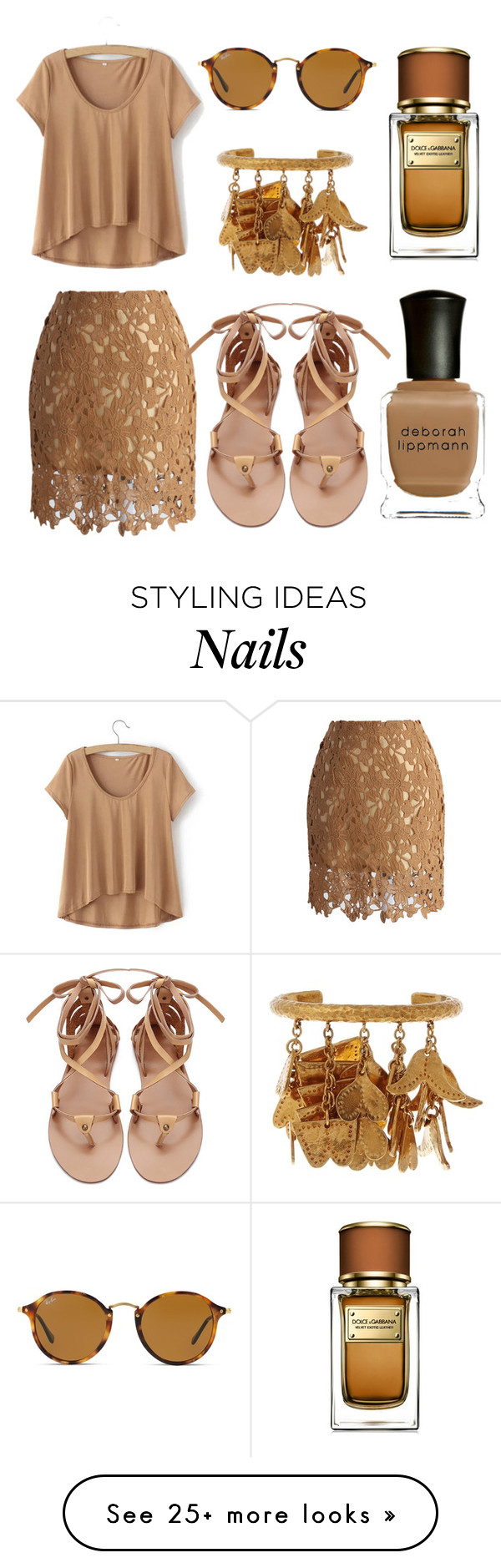 """Earth tones"" by ladybug71181 on Polyvore featuring Chicwish, Chloé, Ray-Ban, Dolce&Gabbana and Deborah Lippmann"