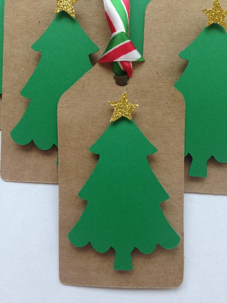 Christmas Tree Party Favor Tags Kraft Paper Christmas Tree Etsy Paper Christmas Tree Christmas Tree Gift Tags Party Favor Tags