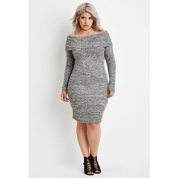 Forever 21 Plus Womens Plus Size Off The Shoulder Sweater Dress