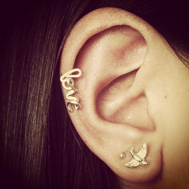 cursive love cartilage earring #love #handmade #earring #etsy #sparrow #jewelry #cartilage #piercing