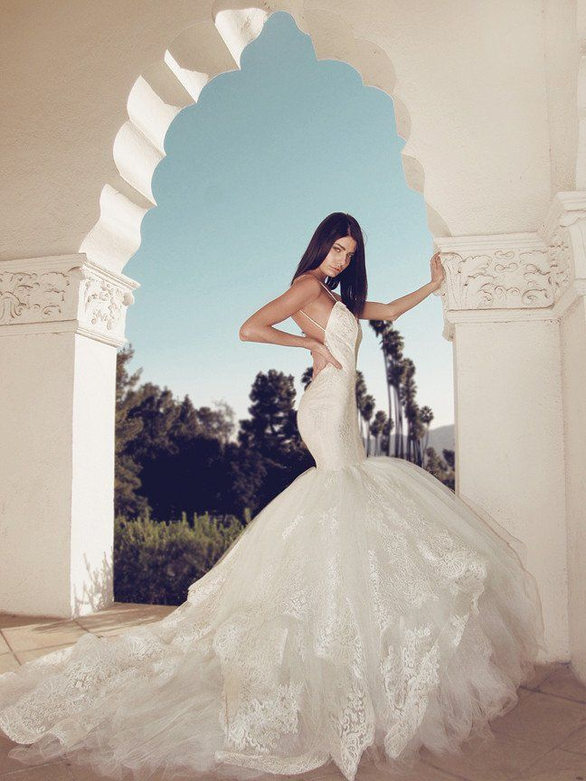 fc1ad3fce61d Dramatic mermaid wedding gown with lace and tulle cathedral train and  cathedral veil.