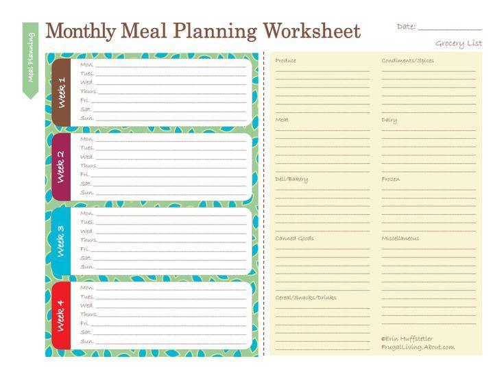 meal plan spreadsheet
