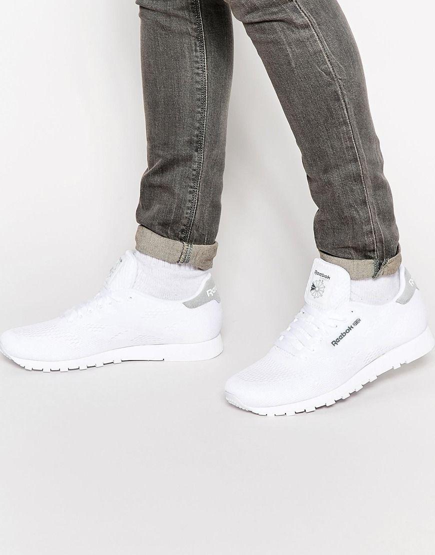 reebok classic white trainers