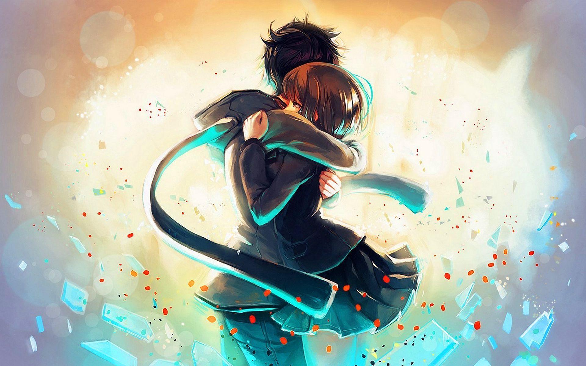 Anime boy girl hug Wallpapers Pictures Romantic anime