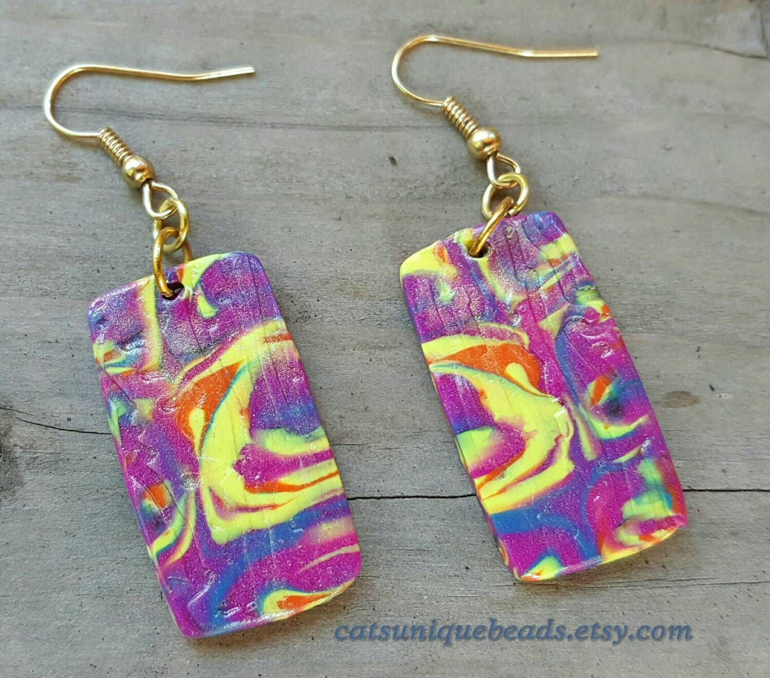 Orange, Yellow, Pink and Lavender dangle bead earrings - Item #E1083 - Polymer Clay earrings - Women' earrings - pinned by pin4etsy.com