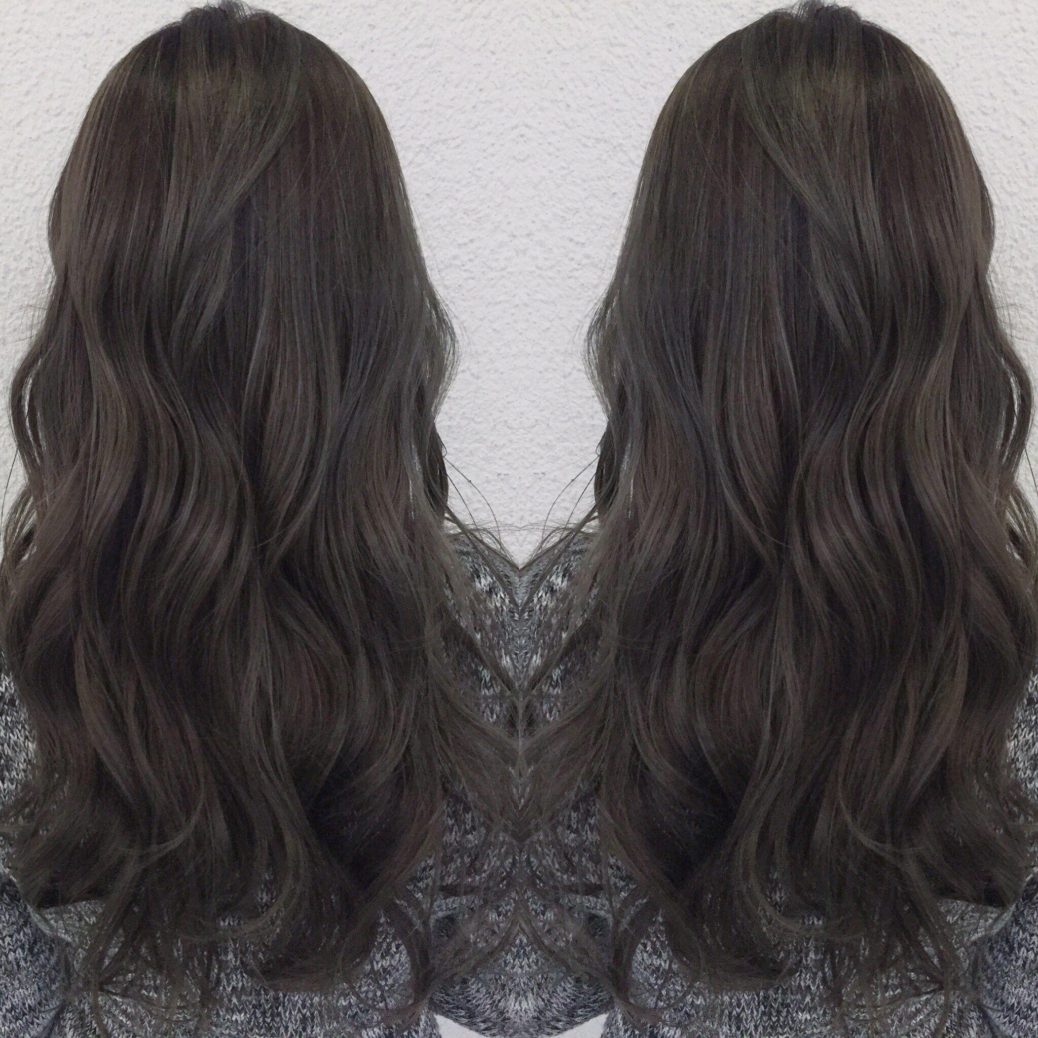 ダークグレージュ 髪 カラー 髪型 ヘアースタイル