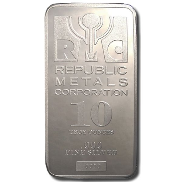 10 Oz Republic Metals Rmc Silver Bar 999 Fine Silver Silver Bars Buy Gold And Silver Silver Bullion