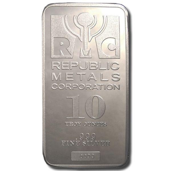 10 Oz Republic Metals Rmc Silver Bar 999 Fine Silver Silver Bars Buy Gold And Silver Silver Bullion