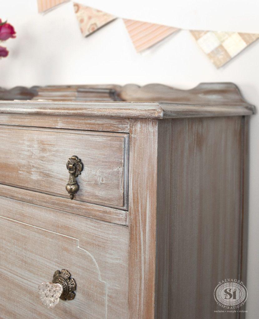 Whitewashed Antique Dresser