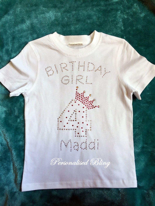 Birthday Girl T Shirt 4 5 6 7 8 Years Old Girls White Top By Personaliseddiamante On