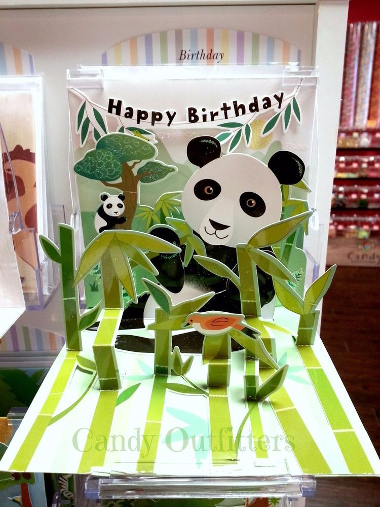Cards Pop Up Greeting Card Pandas Happy Birthday Panda Bears 3 D Panda Card Happy Birthday Cards Pop Up Cards