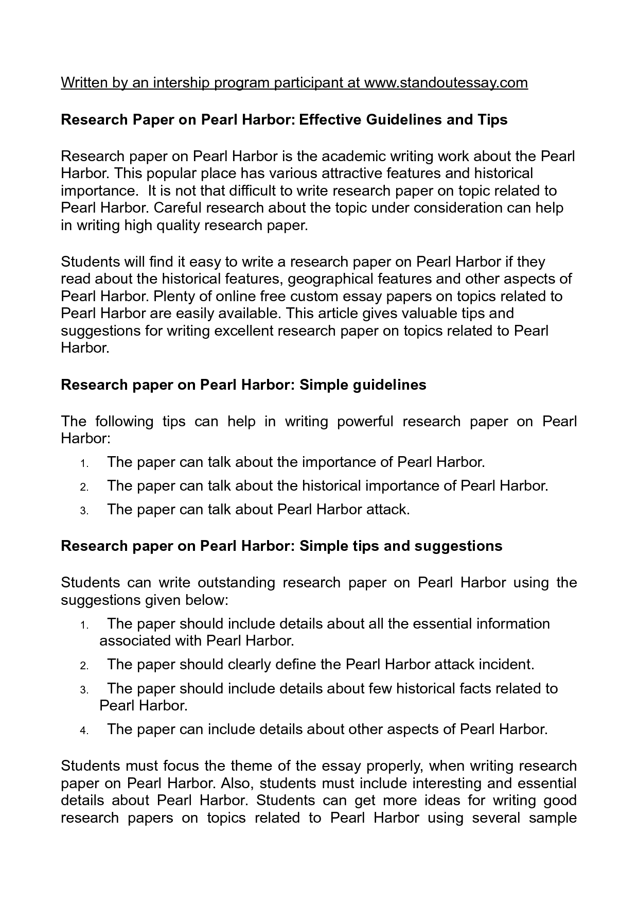 Pearl harbor research paper research paper on pearl harbor