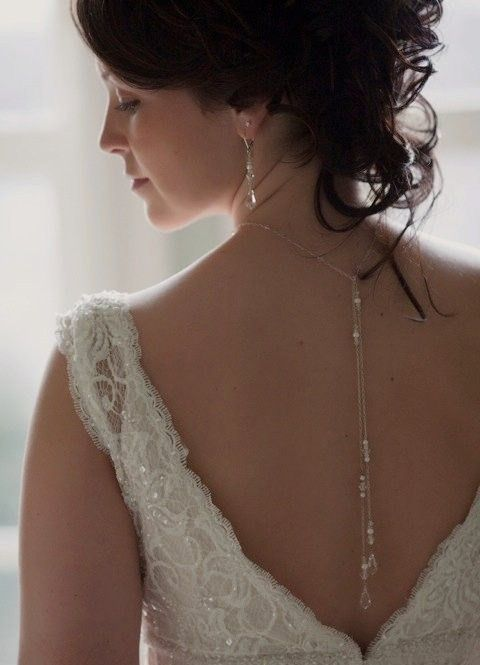 Bridal Lariat Necklace with Swarovski Pearls, Crystals and  Teardrops with Backdrops - Handmade Wedding Jewelry by Handmade by Diana on Etsy. $52.00, via Etsy.