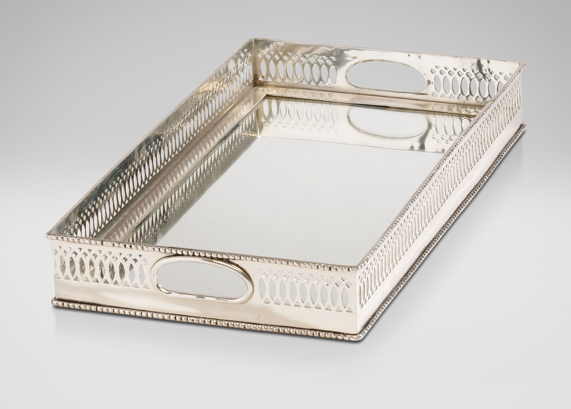 Decorative Trays Traditional Mirrored Silver Tray 200  N Family  Ravenswood