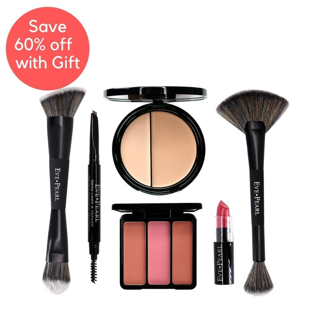 EVE PEARL 6 Pc Beautiful Face Collection; Foundation, Blush, Brow & Brushes   Fair Gallery