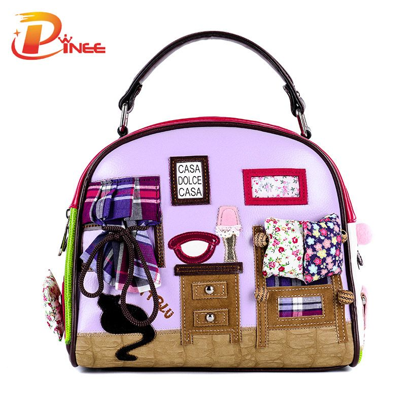 Fashion Women Shoulder Bag Italy Braccialini Handbag Style Retro Handmade Stylish Woman Messenger Bags