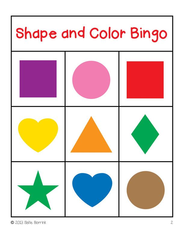Shapes and Colors Bingo Game Cards 4x4 | bingo | Pinterest ...
