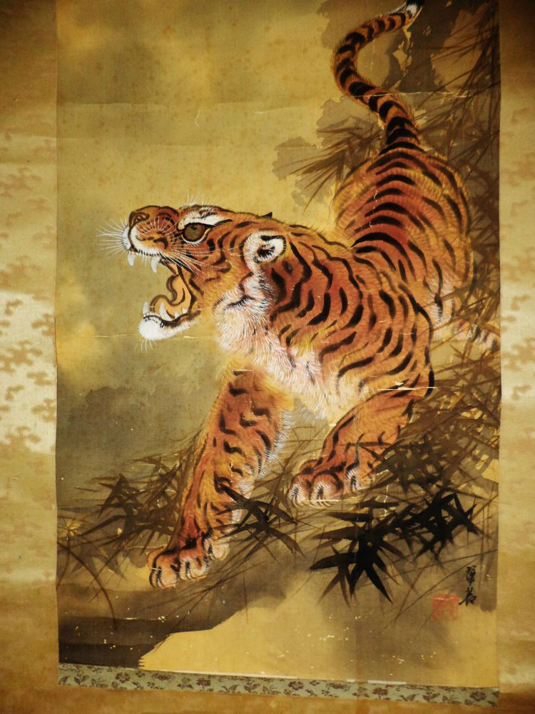 a136 antique unmounted japanese fine silk painting scroll tiger 22x72 tigers pinterest. Black Bedroom Furniture Sets. Home Design Ideas