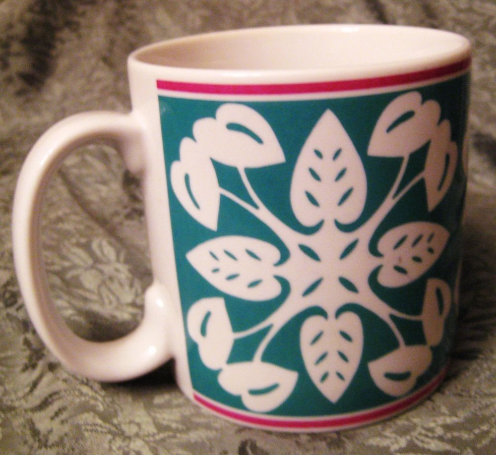 Anthurium mug hawaii yuko green coffee cup porcelain