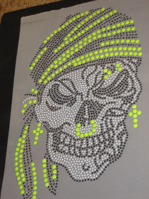Diy Rhinestone & Nail Head Sequin Transfer of Pirate Skull in Neon ...