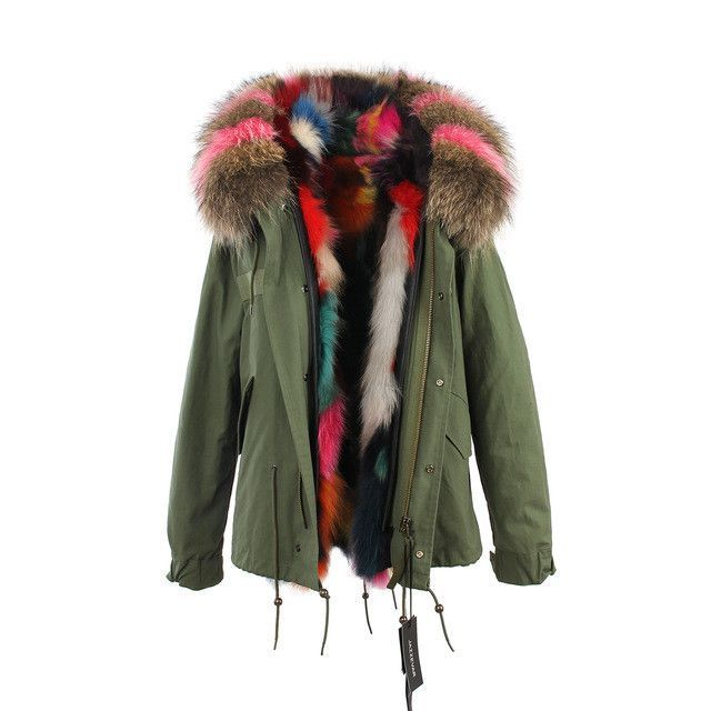 2016 women's army green Large raccoon fur collar hooded coat parkas outwear 2 in 1 detachable lining winter jacket top quality