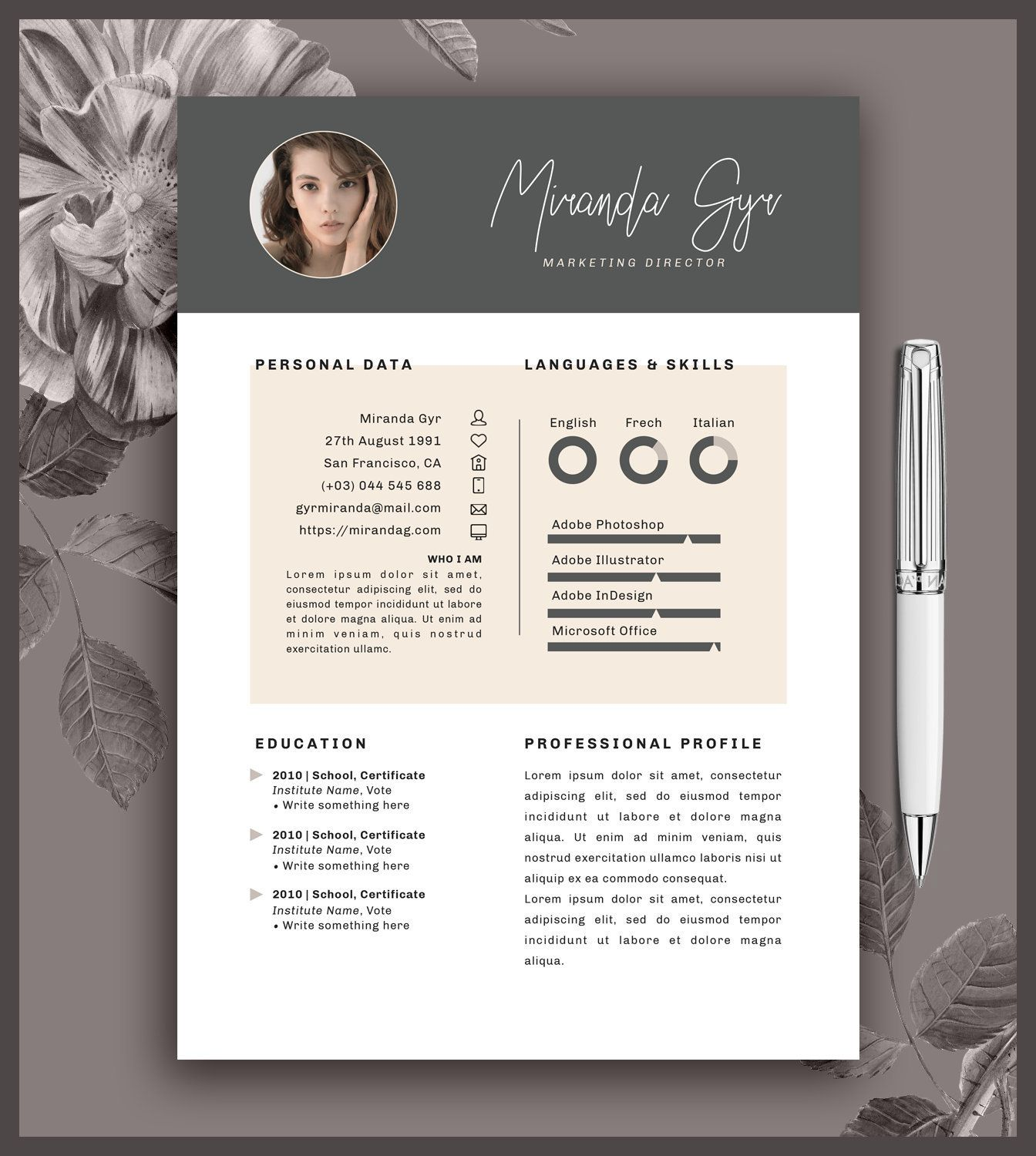Resume Template 2 Pages Cover Letter Cv Printable Word And Pages Digital Download Miranda Resume Template Lettering Personal Resume