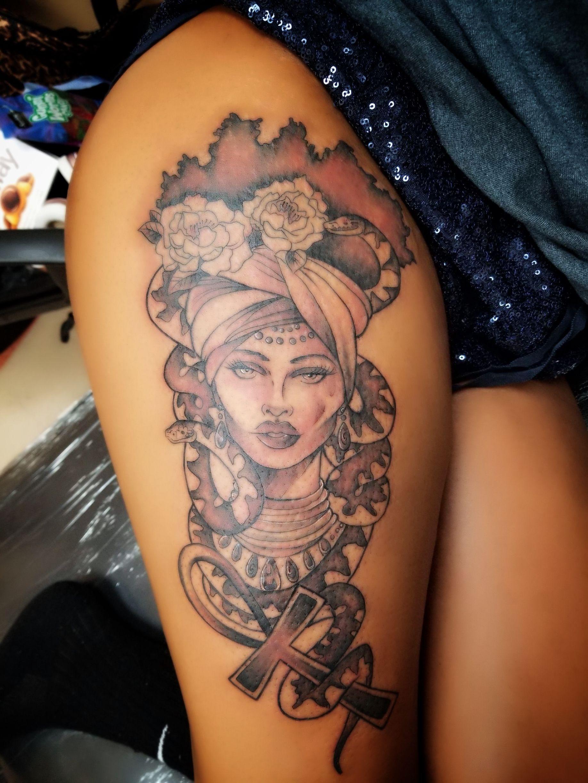 Afrocentric Inspired Medusa Thigh Tattoo Tattoo Blackgirlmagic