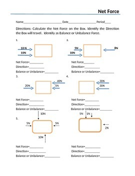 balanced and unbalanced forces worksheet - Termolak