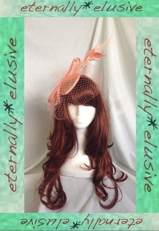 Designer SUZANNE BETTLEY Salmon Fascinator Hatinator Half Veil Netting Feathers