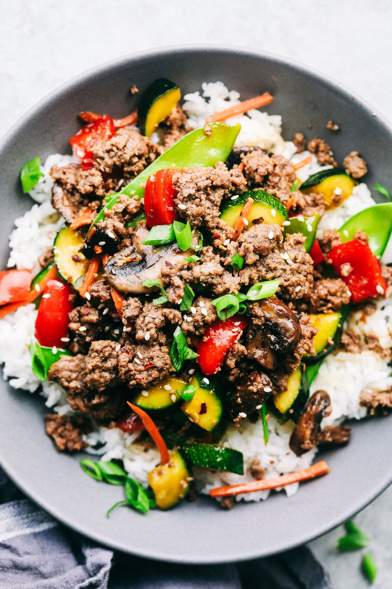 Korean Ground Beef Stir Fry The Recipe Critic Korean Ground Beef Ground Beef Beef Stir Fry